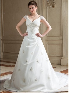 A-Line/Princess V-neck Chapel Train Satin Tulle Wedding Dress With Embroidered Ruffle Beading