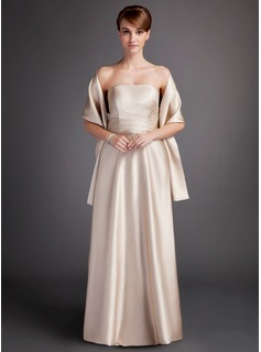A-Line/Princess Strapless Floor-Length Charmeuse Bridesmaid Dress With Ruffle