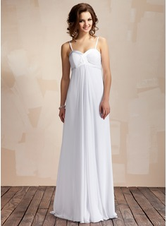 Empire Sweetheart Floor-Length Chiffon Charmeuse Wedding Dress With Ruffle