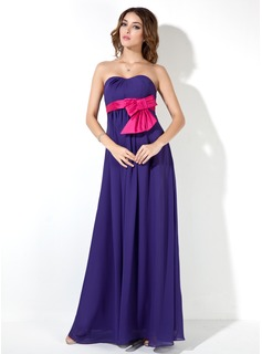 Empire Sweetheart Floor-Length Chiffon Maternity Bridesmaid Dress With Sash (016025854)