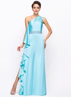 Sheath/Column One-Shoulder Floor-Length Satin Chiffon Prom Dress With Beading Split Front Cascading Ruffles