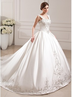 Ball-Gown Sweetheart Cathedral Train Satin Wedding Dress With Embroidery Beadwork Sequins (002012772)