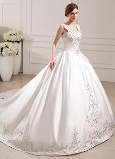 Corte de baile Escote corazón Tren de la catedral Satén Vestido de novia con Bordado Bordado Lentejuelas