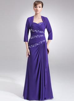 Vestidos princesa/ Formato A Coração Longos De chiffon Vestido para a mãe da noiva com Pregueado Bordado Lantejoulas