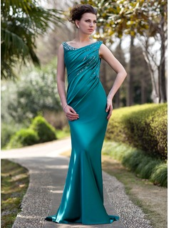 Sheath Off-the-Shoulder Sweep Train Charmeuse Mother of the Bride Dress With Ruffle Beading Sequins (008022934)