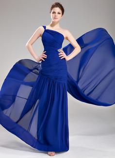 A-Line/Princess One-Shoulder Watteau Train Chiffon Prom Dress With Ruffle Beading
