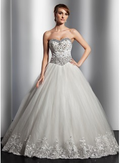 Ball-Gown Sweetheart Floor-Length Satin Tulle Wedding Dress With Lace Beadwork Sequins (002014818)