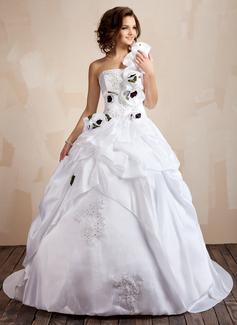 Corte de baile Un sólo hombro Cola corte Tafetán Vestido de novia con Bordado Los appliques Encaje Flores Lentejuelas Cascada de volantes