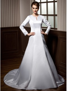 A-Line/Princess Scoop Neck Chapel Train Satin Wedding Dress With Beadwork Appliques (002011703)