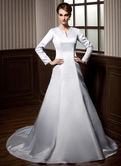 Corte A/Princesa Escote redondo Cola capilla Satén Vestido de novia con Encaje Bordado