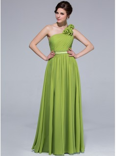 A-Line/Princess One-Shoulder Floor-Length Chiffon Charmeuse Bridesmaid Dress With Ruffle Flower(s) (007037242)