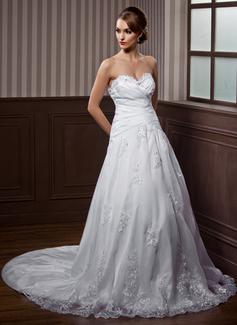 Corte A/Princesa Escote corazón Cola watteau Tafetán Organdí Vestido de novia con Volantes Encaje Bordado Lazo(s)