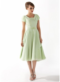 A-Linie/Princess-Linie Rechteckiger Ausschnitt Wadenlang Chiffon Kleid fr die Brautmutter mit Rschen Perlstickerei (008005918)