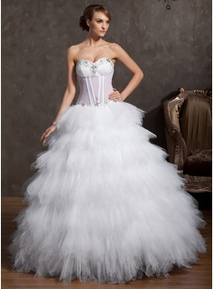 Ball-Gown Sweetheart Floor-Length Tulle Wedding Dress With Ruffle Beadwork (002014850)