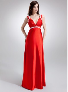 A-Line/Princess V-neck Sweep Train Charmeuse Maternity Bridesmaid Dresses With Embroidered Ruffle Beading (045022465)