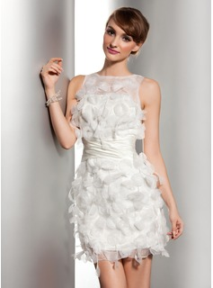 Sheath/Column Scoop Neck Short/Mini Organza Satin Wedding Dress With Ruffle Flower(s) (002014506)