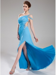 A-Line/Princess One-Shoulder Sweep Train Chiffon Prom Dress With Ruffle Beading (018018823)