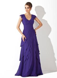A-Linie/Princess-Linie V-Ausschnitt Sweep/Pinsel zug Chiffon Abendkleid mit Gestufte Rüschen