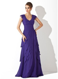 A-Line/Princess V-neck Sweep Train Chiffon Evening Dress With Cascading Ruffles