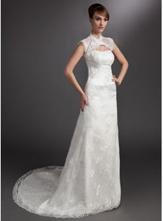 A-Line/Princess Sweetheart Court Train Satin Lace Wedding Dress With Beadwork
