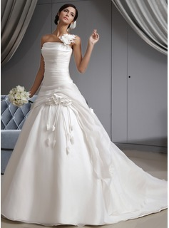 Ball-Gown One-Shoulder Cathedral Train Organza Wedding Dress With Ruffle Flower