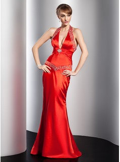 Sheath Halter Floor-Length Charmeuse Evening Dress With Ruffle Beading