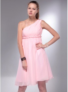 Empire One-Shoulder Knee-Length Chiffon Homecoming Dress With Ruffle