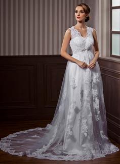 Corte A/Princesa Escote en V Cola capilla Tul Vestido de novia con Encaje Bordado