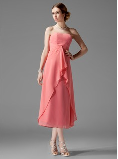 A-Line/Princess Sweetheart Tea-Length Chiffon Bridesmaid Dress With Cascading Ruffles