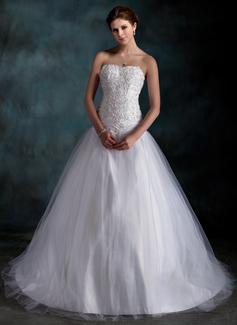 Corte de baile Escote corazón Tren de la corte Tafetán Tul Vestido de novia con Volantes Encaje Bordado