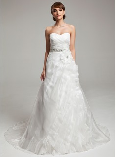 A-Line/Princess Sweetheart Court Train Organza Wedding Dress With Ruffle Beadwork Flower(s) (002017543)