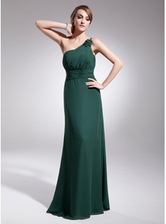 Jakke One-Shoulder Gulvlang Chiffon Aftenkjole med Flsekanter (017014567)