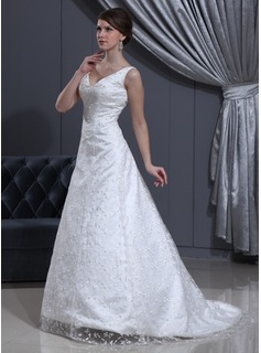 A-Line/Princess V-neck Sweep Train Satin Lace Wedding Dress With Beadwork (002012800)