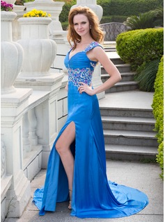 A-Line/Princess Sweetheart Court Train Charmeuse Prom Dress With Lace Beading (018024664)