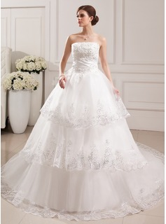 Ball-Gown Strapless Cathedral Train Satin Tulle Wedding Dress With Lace Beading Flower(s)