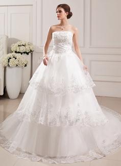 Corte de baile Estrapless Tren de la catedral Satén Tul Vestido de novia con Encaje Bordado Flores