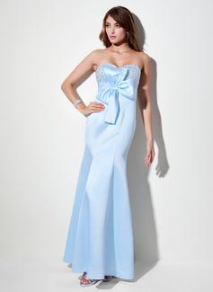 Corte imperial Escote corazón Vestido Satén Vestido de baile de promoción con Volantes Bordado Lentejuelas Lazo