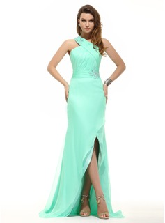 Sheath One-Shoulder Asymmetrical Chiffon Prom Dress With Ruffle Beading (018016094)
