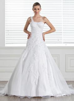 Corte A/Princesa Un sólo hombro Tren de la corte Organdí Satén Vestido de novia con Encaje
