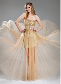 Corte A/Princesa Escote corazón Vestido Tul Con lentejuelas Vestido de baile de promoción con Bordado