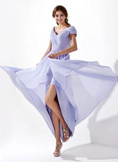 A-Line/Princess V-neck Asymmetrical Chiffon Prom Dress With Ruffle