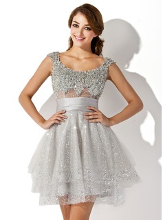A-Line/Princess Scoop Neck Short/Mini Tulle Charmeuse Cocktail Dress With Ruffle Beading Sequins (016005838)