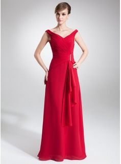 A-Line/Princess Off-the-Shoulder Floor-Length Chiffon Mother of the Bride Dress With Ruffle Beading (008005640)