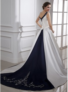Ball-Gown V-neck Chapel Train Satin Wedding Dress With Embroidered