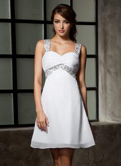 Empire Sweetheart Short/Mini Chiffon Homecoming Dress With Ruffle Beading Sequins