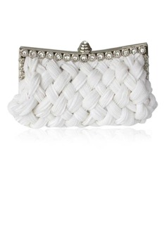 White Gorgeous Satin With Shining Rhinestones Evening Handbags (012011024)