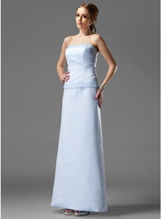 Sheath Strapless Floor-Length Satin Mother of the Bride Dress With Beading (008003492)