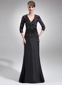 Vestidos princesa/ Formato A Decote V Longos Tafetá Renda Vestido para a mãe da noiva com Bordado fecho de correr Lantejoulas