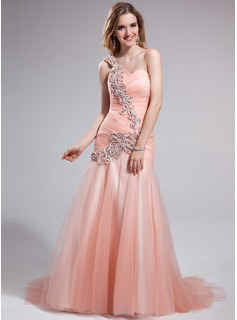A-Line/Princess One-Shoulder Sweep Train Tulle Prom Dress With Ruffle Beading Sequins