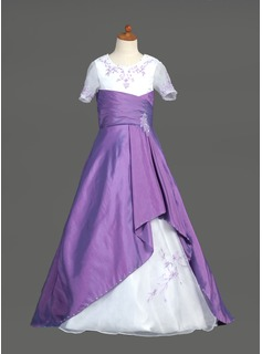 A-Line/Princess Scoop Neck Sweep Train Taffeta Organza Flower Girl Dress With Embroidered Ruffle Sash Beading Sequins